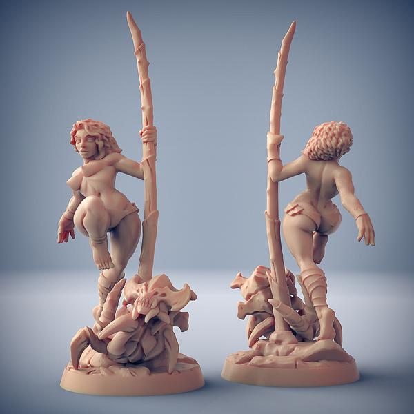 Lara the Dancer & Scourgy the Zeek (Fantasy Pinup) With out top - OTP Terrain & Miniatures Off The Print Gaming