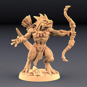 Goldmaw Male Lizard With Bow - OTP Terrain & Miniatures Off The Print Gaming