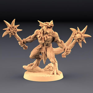 Goldmaw Male Lizard With Duel Mace - OTP Terrain & Miniatures Off The Print Gaming