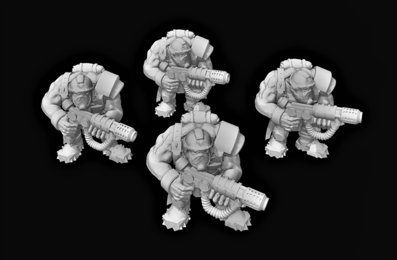 Broozer Guard Special Weapons Magma Gun x4 - OTP Terrain & Miniatures Off The Print Gaming
