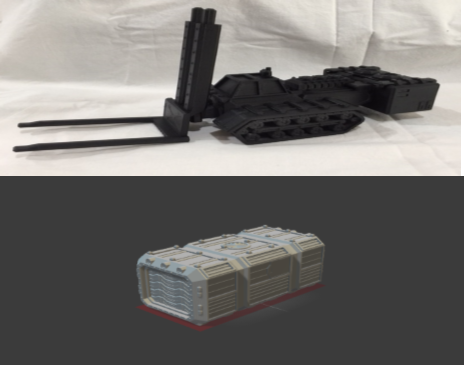 Fork Lift & Standard Shipping Container-[40KTerrain]-[Fantasyterrain]-[3DPrintedTerrain]-[Wargaming]-[Tabletopgaming]-OTP Terrain Off The Print Gaming