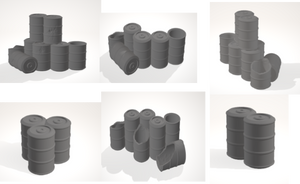 Set of all 6 Barrel sets-[40KTerrain]-[Fantasyterrain]-[3DPrintedTerrain]-[Wargaming]-[Tabletopgaming]-OTP Terrain Off The Print Gaming