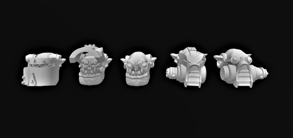 Pyro Broozer Head Set x5-A - OTP Terrain & Miniatures Off The Print Gaming