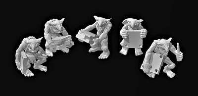 Goblin Repair Crew x 5 - OTP Terrain & Miniatures Off The Print Gaming