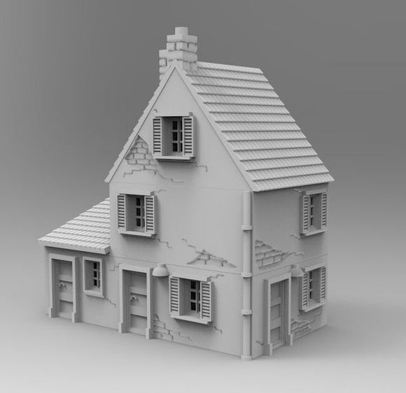 Normandy Small Town House - 1/100 or 15mm - 1/72 or 20mm - 1/56 or 28mm