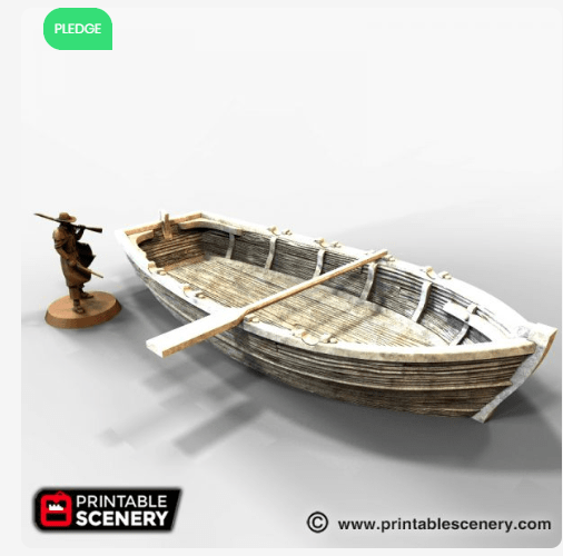 Long Boat (Row Boat) - OTP Terrain & Miniatures Off The Print Gaming