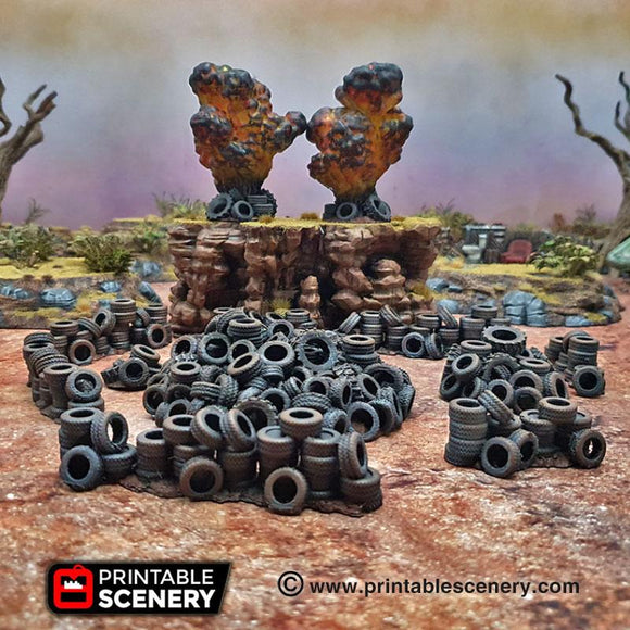 Tire Obstacles - OTP Terrain & Miniatures Off The Print Gaming