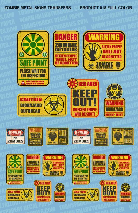 Zombie Hazard Signs - OTP Terrain & Miniatures Off The Print Gaming