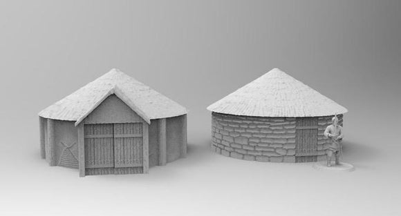 2 x Celtic Houses - OTP Terrain & Miniatures Off The Print Gaming