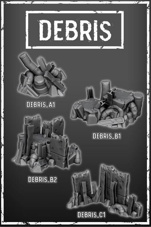 Debris Set Of 4 - OTP Terrain & Miniatures Off The Print Gaming
