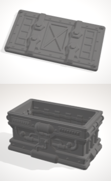 Dumpster Basic with lid-[40KTerrain]-[Fantasyterrain]-[3DPrintedTerrain]-[Wargaming]-[Tabletopgaming]-OTP Terrain Off The Print Gaming