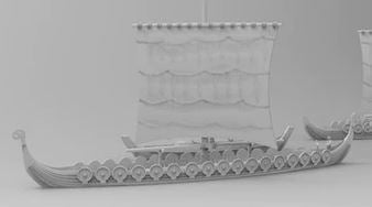 Longship with shields & Accessories