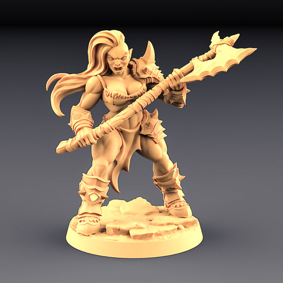 Orc Barbarian Female With 2 Handed Axe In Stance