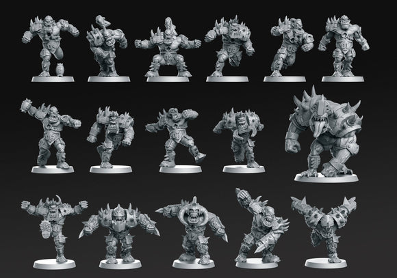 Orcs Team 16 Miniatures ( Fantasy Football) - OTP Terrain & Miniatures Off The Print Gaming