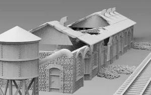 Train Yard Building Destroyed & Water Tower Destroyed - 28mm - 20mm - 15mm