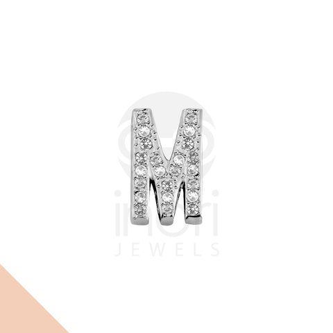 SS charm letter M with cystal - ST