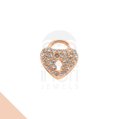 SS charm heart-lock with cystal - RS - Inorithailand