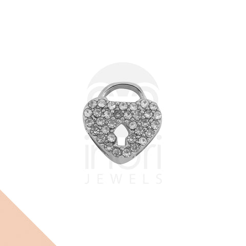 SS charm heart-lock with cystal - ST