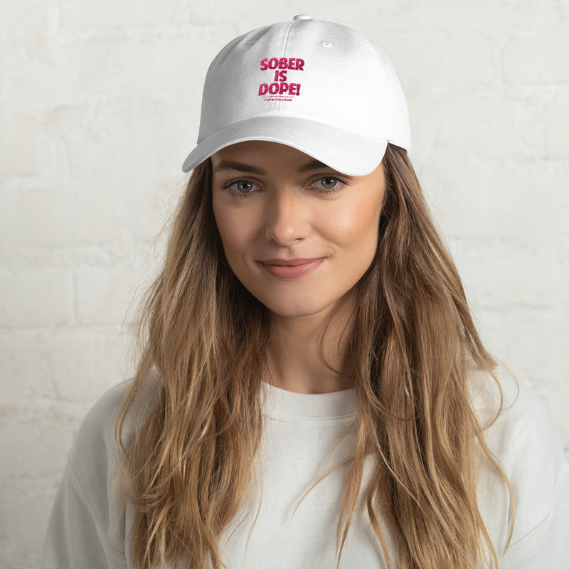 Sober Is Dope Pink Embroidered Cap - Sober Is Dope
