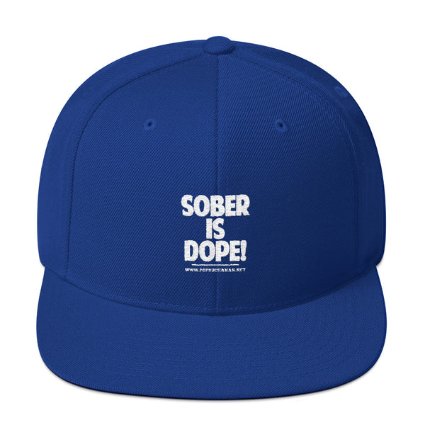 Sober Is Dope White Embroidered Snapback Hat