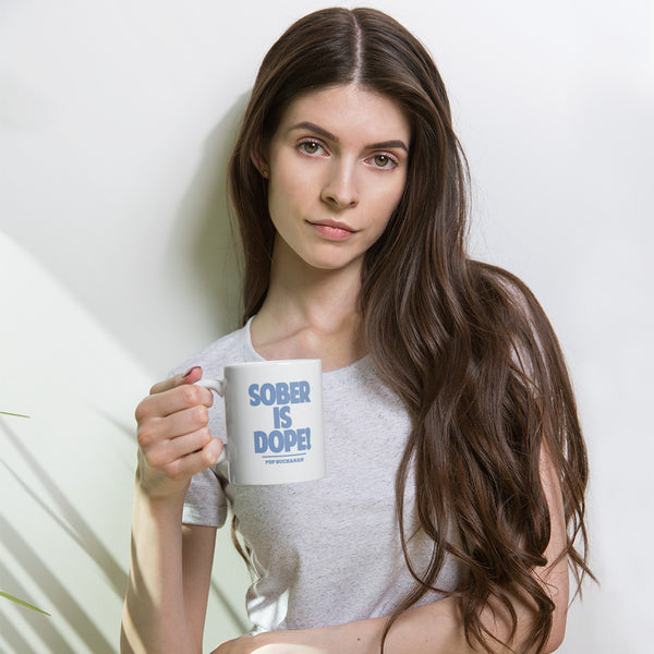 Sober Is Dope Blue Color Printed Mug - Sober Is Dope
