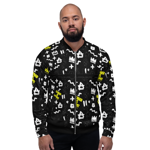 Sober is Dope Royalty Black Unisex Bomber Jacket