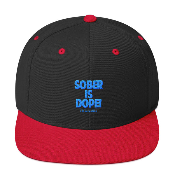 Sober Is Dope Blue Embroidered Snapback Hat
