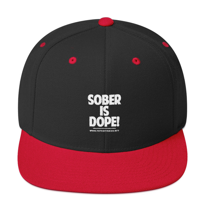 Sober Is Dope White Embroidered Snapback Hat - Sober Is Dope