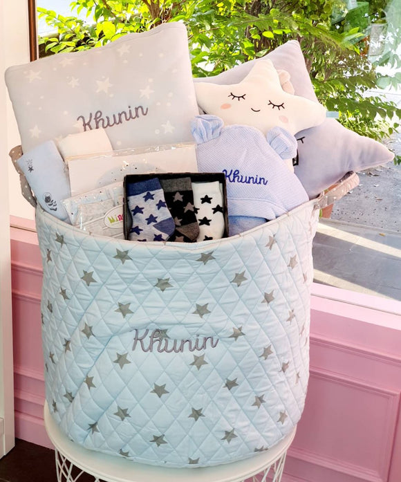 Personalized Baby Blue Gift Basket