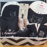 NEWBORN GIFT BOX - BLACK & PINK CAT
