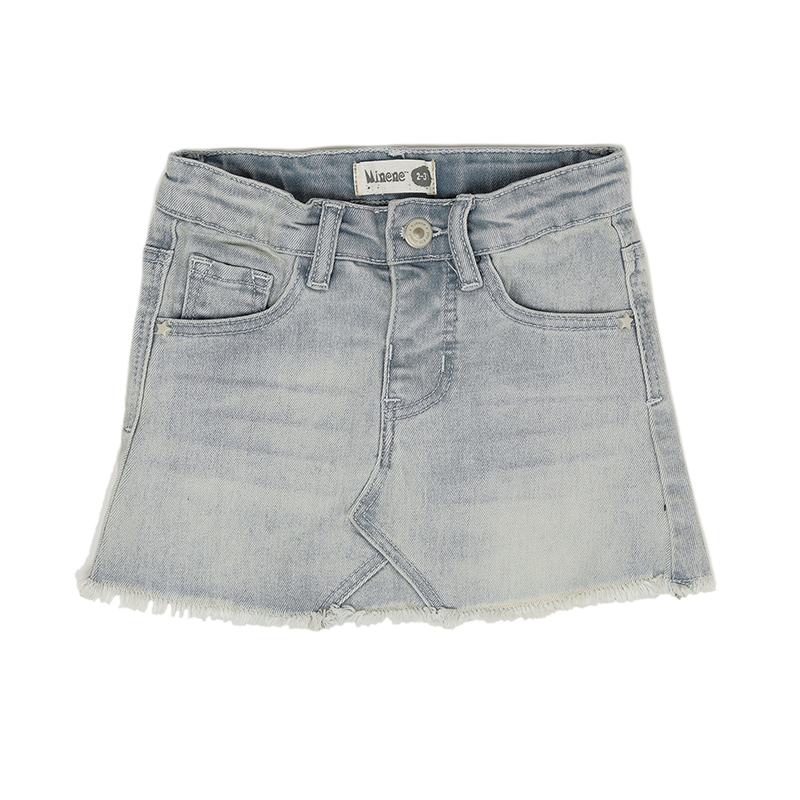 Skirt With Cut J, Jeans - Light Blue