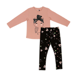 Shirt & Tights Set KC- Pink
