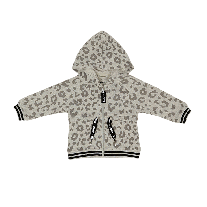 Jacket With Hood E - Light Gray Printed