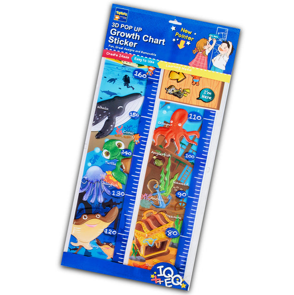 Pop up growth chart sticker Under the sea