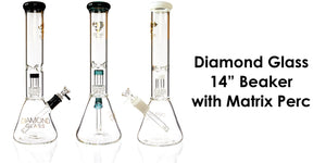 "14"" Matrix UFO Perc Diamond Glass- Bat Kountry"