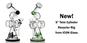 "9"" Twin Cylinder Dab Rig ICON Glass"