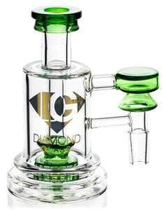 Ash Catcher w/ 14mm Joint, 90˚ Angle, Showerhead Perc, Solid Base, by Diamond Glass - Bat Kountry- shipping in stock items during COVID-19