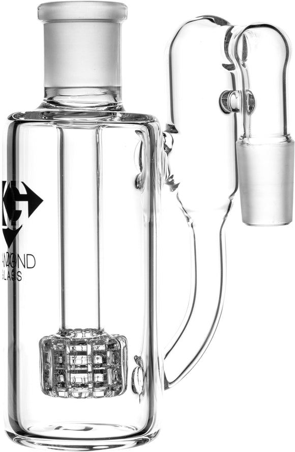 Ash Catcher w/ 18mm Joint, 90˚ Angle, Matrix + Recycler Perc, by Diamond Glass - Bat Kountry