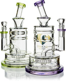 "8"" Heavy Base Crystal Cut Rig w/ Showerhead, by Diamond Glass (free banger included) - Bat Kountry"