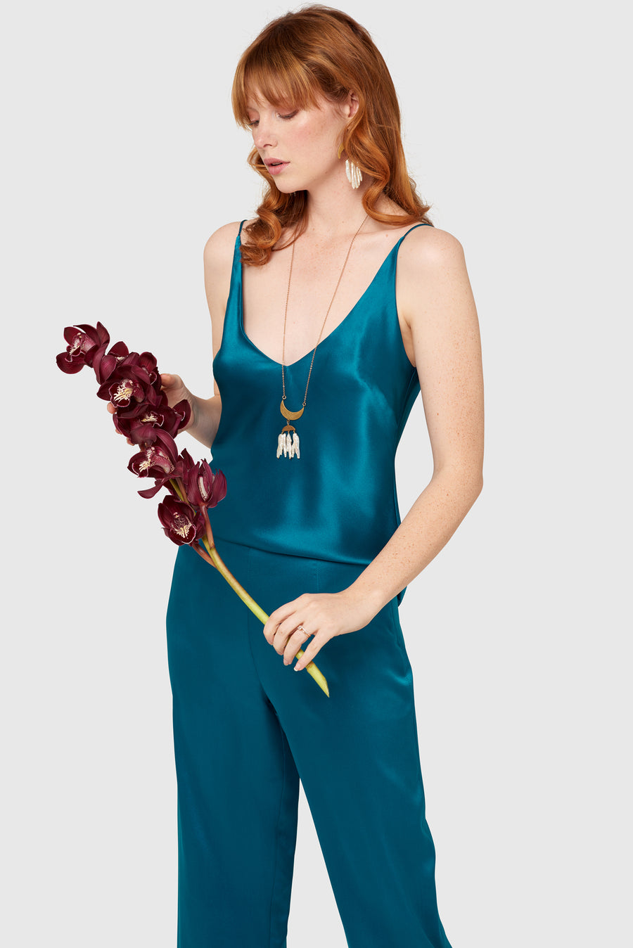 Peacock High Waisted Silk Lounge Pants