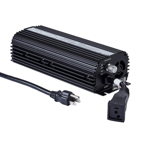 /></span></strong></p> <p><strong>Product Details:</strong><br> Digital electronic dimmable ballast fits for HPS or MH grow light system. Up to 30% more than magnetic ballasts for improved yields. Quick lamp ignition by lighting the bulbs within 1-2mins and stable light output by constant lamp voltage. Perfect for your HPS or MH grow light system to stabilize electricity and voltage, which can promote your plants growth and flowering.<br>  *Fully compatible for metal halide and high pressure sodium bulbs.<br> *The built-in fuse, cooling fan and graduating fin design resulting in 15% cooler operation.<br> *Reduce wastage and improve usable efficiency of power supply equipment capability.<br> *Open/short circuit protection under input terminal/internal heat and radio frequency for critical components.</p>  <p><strong>Specifications:</strong><br> EB-1000W/600W/400W-with fan <br> Input:120-240V/50-60Hz<br> Output: 10CM cord with socket<br> High Power Factor of 99.9% <br> Built-in fan, disperse heat.<br> Dimming, adjustable output power: 50%, 75%, 100%<br> Higher lumen output and more efficient than magnetic ballasts <br> Operates both metal halide and high pressure sodium bulbs<br> UL/CUL.CE Listed</p>   <p><h2><strong>600 Watt HPS Flower Bulb</strong></h2></p> <p><strong>Product Description:</strong><br> Full spectrum more closely matches sunlight than ANY other lighting solution available.<br> Growers report tighter inter-nodal spacing and better yields on flowering plants.</p> <p><img src=