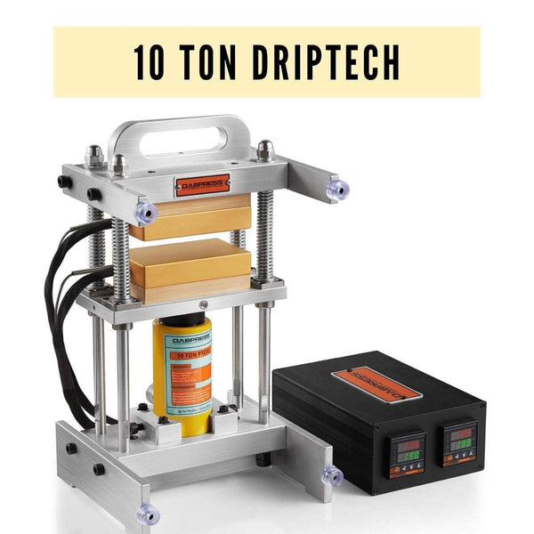 10 Ton Driptech Rosin Press - 3x5 Inches Anodized Heated Platens, 500 Watts - No Pump Included | Dabpress