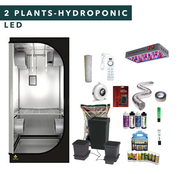 3' X 3' LED Hydroponic Complete Indoor Grow Tent Kits for 2 Plants