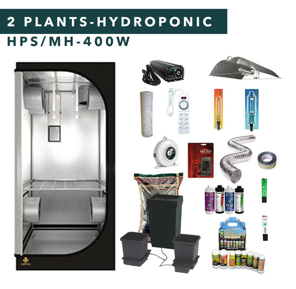 3' X 3' HID Hydroponic Complete Indoor Grow Tent Kits for 2 Plants