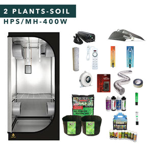3' X 3' HID Soil Complete Indoor Grow Tent Kits 2 Plants