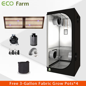 Eco Farm 3'*3' Essential 240W LM301h Quantum Board LED Grow Tent Kit Free Shipping