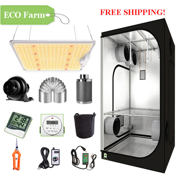 ECO Farm 2'x2' Complete Grow Tent Kit - 110W LM301B Waterproof Quantum Board-growpackage.com
