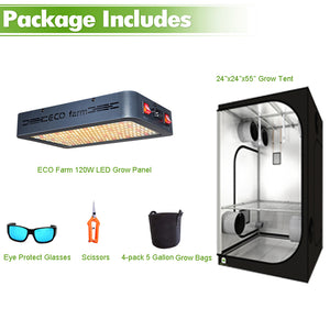 ECO Farm 2'x2' Essential Grow Tent Kit - 120W LED Grow Panel-growpackage.com