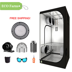 ECO Farm 3'x3' Essential Grow Tent Kit - 200W UFO Grow Light-growpackage.com