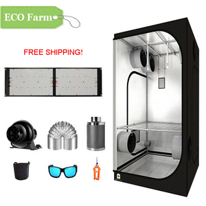 ECO Farm 3'x3' Essential Grow Tent Kit - 240W 301H Quantum Board-growpackage.com
